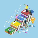 Education concept design. Education concept with book stairs in 3d isometric flat design Royalty Free Stock Images