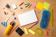 Education concept - the desk in the auditorium. Education concept - the desk in the auditorium stock photos