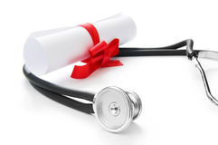 Education concept with diploma and stethoscope Stock Photography