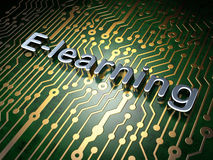 Education concept: E-learning on circuit board Royalty Free Stock Photos