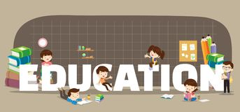 Education concept. Illustration of Students Boy and Girl Reading and learning various actions with elements around big Letter stock illustration