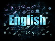 Education concept: English on Digital background. Education concept: Pixelated blue text English on Digital background with  Hand Drawn Education Icons, 3d Royalty Free Stock Photo