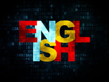 Education concept: English on Digital background. Education concept: Pixelated multicolor text English on Digital background with  , 3d render Royalty Free Stock Photos