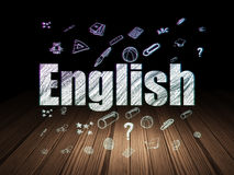 Education concept: English in grunge dark room Royalty Free Stock Photo