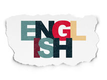 Education concept: English on Torn Paper. Education concept: Painted multicolor text English on Torn Paper background, 3d render Stock Photo