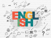 Education concept: English on wall background Royalty Free Stock Image