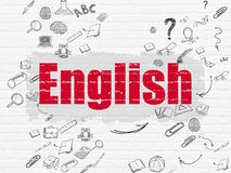 Education concept: English on wall background. Education concept: Painted red text English on White Brick wall background with Scheme Of Hand Drawn Education Royalty Free Stock Photos
