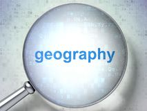 Education concept: Geography with optical glass. Education concept: magnifying optical glass with words Geography on digital background, 3D rendering Royalty Free Stock Photo