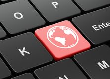 Education concept: Globe on computer keyboard background Royalty Free Stock Image