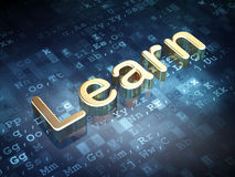Education concept: Golden Learn on digital. Background, 3d render Royalty Free Stock Photo