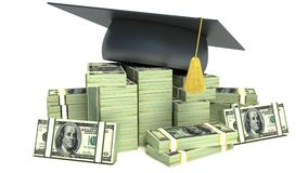 Education concept. Graduation Cap on Stack of Dollar Bills Stock Photos