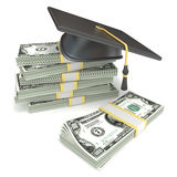 Education concept. Graduation cap on stack of dollar bills. 3D rendering royalty free illustration