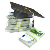 Education concept. Graduation cap on stack of euro bills. 3D rendering. Illustration isolated on white background Royalty Free Stock Images