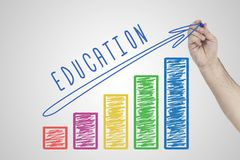 Education concept. Hand drawing Increasing chart showing the growth of Education quality. Education concept. Hand drawing Increasing chart showing the growth of Royalty Free Stock Photo