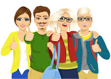 Education concept - happy team of students showing thumbs Royalty Free Stock Photography