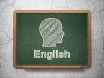 Education concept: Head and English on chalkboard Royalty Free Stock Photo