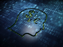 Education concept: Head With Finance Symbol on digital screen background Royalty Free Stock Images
