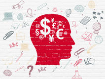 Education concept: Head With Finance Symbol on Stock Photography
