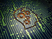 Education concept: Head With Gears on circuit. Education concept: circuit board with Head With Gears icon, 3d render Royalty Free Stock Photo