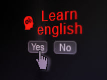 Education concept: Head With Gears icon and Learn. Education concept: buttons yes and no with pixelated Head With Gears icon, word Learn English and Hand cursor Royalty Free Stock Photos