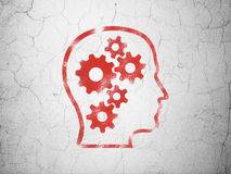 Education concept: Head With Gears on wall background Royalty Free Stock Photography