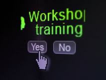 Education concept: Head With Keyhole icon and. Education concept: buttons yes and no with pixelated Head With Keyhole icon, word Workshop Training and Hand Royalty Free Stock Image