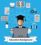 Education concept with high school student and education icons. Royalty Free Stock Photography