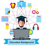 Education concept with high school student and education icons. Royalty Free Stock Images