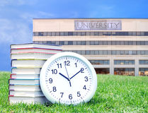 Education concept. Concept of higher education: book, campus, university stock photo