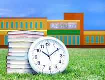 Education concept. Concept of higher education: book, campus, university royalty free stock image