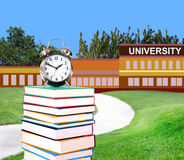 Education concept. Concept of higher education: book in front of university royalty free stock image