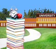 Education concept. Concept of higher education: book in front of university stock photography