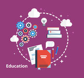 Education concept -  illustration. Flat inspiration design with icons of ideas, books, process. Stock Photography