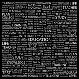 EDUCATION. Concept illustration. Graphic tag collection. Wordcloud collage stock illustration