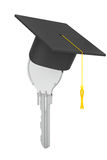Education Concept. Key with Graduation Hat. 3d Rendering Stock Photo