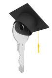 Education Concept. Key with Graduation Hat. 3d Rendering Royalty Free Stock Photos
