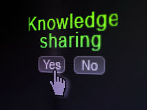 Education concept: Knowledge Sharing on digital. Education concept: buttons yes and no with pixelated word Knowledge Sharing and Hand cursor on digital computer Royalty Free Stock Photography