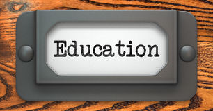 Education Concept on Label Holder. Stock Photo