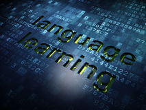 Education concept: Language Learning on digital screen background. Education concept: digital screen with word Language Learning, 3d render Stock Photos