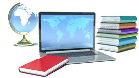 Education concept. Laptop, globe and books Royalty Free Stock Image