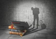 Education concept. Learning to be a slave. Book with diploma cast shadow in form of working slave. 3d illustration Stock Photo