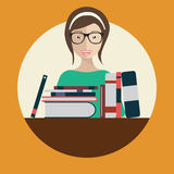 Education concept. Librarian Asian woman with books. Flat vector illustration Royalty Free Stock Photos