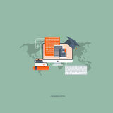 Education concept. On line education concept. Flat  illustration Stock Photography