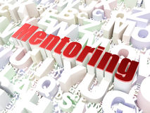 Education concept: Mentoring on alphabet background. Education concept: Mentoring on alphabet  background, 3d render Stock Images
