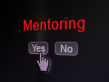 Education concept: Mentoring on digital computer screen. Education concept: buttons yes and no with pixelated word Mentoring and Hand cursor on digital computer Stock Images