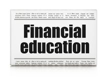 Education concept: newspaper headline Financial Education. On White background, 3D rendering Royalty Free Stock Photos