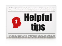 Education concept: newspaper with Helpful Tips and. Education concept: newspaper headline Helpful Tips and Head With Keyhole icon on White background, 3d render Royalty Free Stock Images