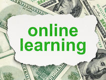 Education concept: Online Learning on Money background. Education concept: torn paper with words Online Learning on Money background, 3d render Royalty Free Stock Photo
