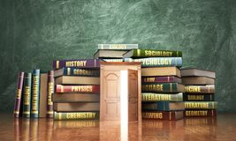 Education concept. Opened wooden door near stacks of books. Door to study. 3d illustration Stock Image