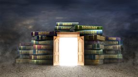 Education concept. Opened wooden door near stacks of books. Door to study. 3d illustration Stock Photo